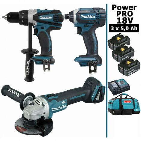 Pack Makita Power PRO 18V: Perceuse 91Nm DDF458 + Meuleuse 125mm DGA504 + Visseuse à chocs 165Nm DTD152 + 3 batt 5Ah + sac MAKITA