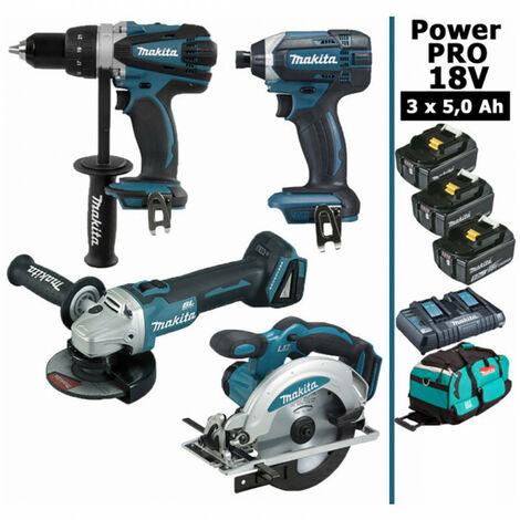 Pack Makita Power PRO 18V: Perceuse 91Nm DDF458 + Meuleuse 125mm DGA504 + Visseuse à chocs 165Nm DTD152 + Scie circulaire 165mm DSS610 + 3 batt 5Ah + sac MAKITA