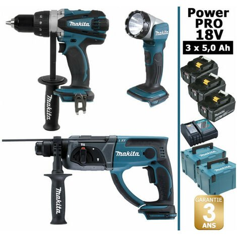 Pack Makita Power PRO 18V: Perceuse 91Nm DDF458 + Perfo 2J DHR202 + Lampe Torche Led 180lm + 3 batt 5Ah + 2 coffrets MAKPAC MAKITA