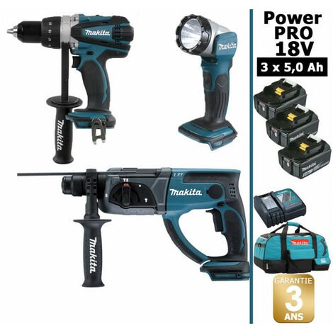 Pack Makita Power PRO 18V: Perceuse 91Nm DDF458 + Perfo 2J DHR202 + Lampe Torche Led 180lm + 3 batt 5Ah + sac MAKITA