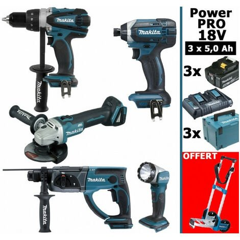 Pack Makita Power PRO 18V: Perceuse 91Nm DDF458 + Perfo 2J DHR202 + Meuleuse 125mm DGA504 + Visseuse à chocs 165Nm DTD152 + Lampe Torche + 3 batt 5Ah + 3 coffrets + OFFERT 1 chariot diable MAKITA