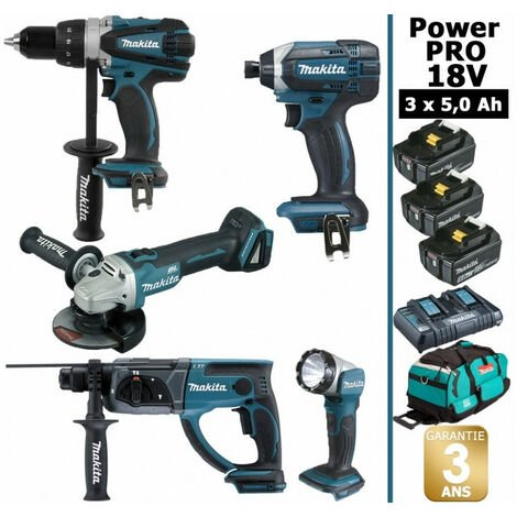 Pack Makita Power PRO 18V: Perceuse 91Nm DDF458 + Perfo 2J DHR202 + Meuleuse 125mm DGA504 + Visseuse à chocs 165Nm DTD152 + Lampe Torche + 3 batt 5Ah + sac MAKITA