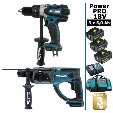 Pack Makita Power PRO 18V: Perceuse 91Nm DDF458 + Perforateur 2J DHR202 + 3 batt 5Ah + sac MAKITA