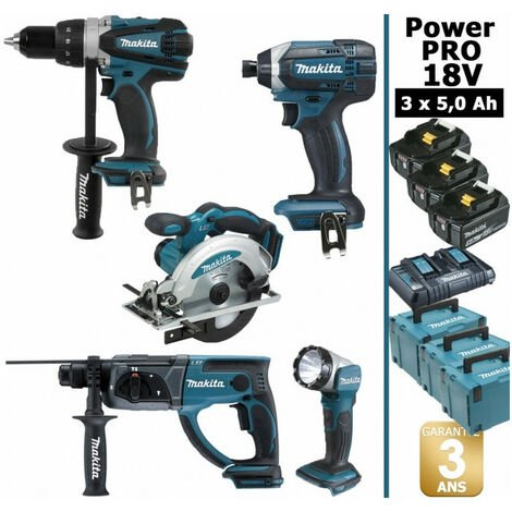 Pack Makita Power PRO 18V: Perceuse 91Nm DDF458 + Scie circulaire 165mm DSS610 + Perforateur 2J DHR202 + Visseuse à chocs 165Nm DTD152 + Lampe torche + 3 batt 5Ah + 3 coffrets MAKITA