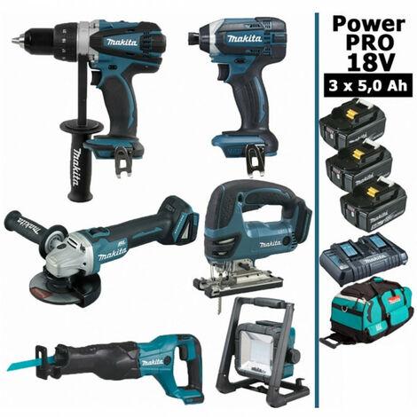 Pack Makita Power PRO 6 outils 18V: Perceuse DDF458 + Meuleuse DGA504 + Visseuse à chocs DTD152 + Scie sauteuse DJV180 + Scie récipro DJR186 + Projecteur de chantier + 3 batt 5Ah + sac MAKITA