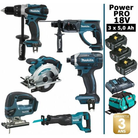 Pack Makita Power PRO 6 outils 18V: Perceuse DDF458 + Perforateur DHR202 + Visseuse à choc DTD152 + Scie sauteuse DJV180 + Scie circulaire DSS610 + Scie récipro DJR186 + 3 batt 5Ah + sac MAKITA