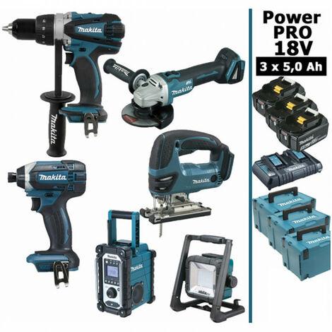Pack Makita Power PRO 6 outils 18V: Perceuse DDF458 + Visseuse à choc DTD152 + Meuleuse DGA504 + Scie sauteuse DJV180 + Radio DMR108 + Projecteur de chantier + 3 batt 5Ah + 3 Coffrets Makpac MAKITA