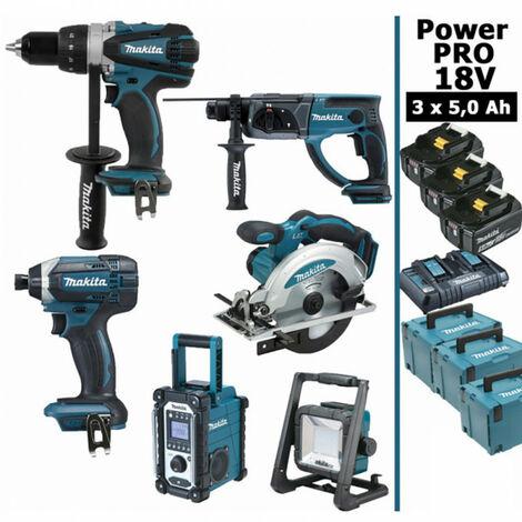 Pack Makita Power PRO 6 outils 18V: Perceuse DDF458 + Visseuse à choc DTD152 + Perforateur DHR202 + Scie circulaire DSS610 + Radio DMR108 + Projecteur de chantier + 3 batt 5Ah + 3 Coffrets Makpac MAKITA