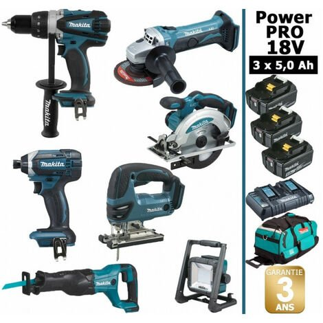 Pack Makita Power PRO 7 outils 18V: Perceuse DDF458 + Meuleuse DGA504 + Visseuse à choc DTD152 + Scie sauteuse DJV180 + Scie circulaire DSS610 + Scie récipro DJR186 + Projecteur DEADML805 + 3 batt 5Ah + sac MAKITA