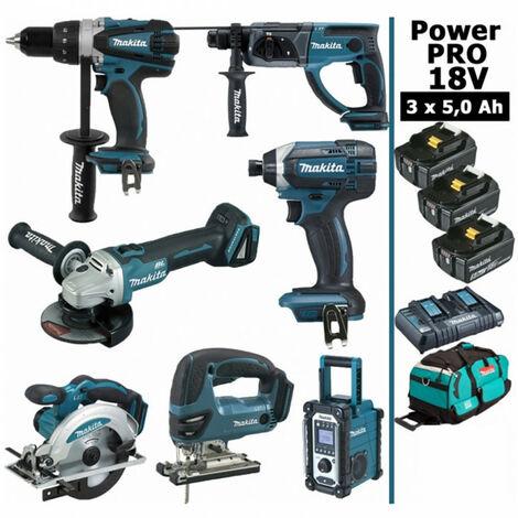 Pack Makita Power PRO 7 outils 18V: Perceuse DDF458 + Perfo DHR202 + Meuleuse DGA504 + Visseuse à choc DTD152 + Scie sauteuse DJV180 + Scie circulaire DSS610 + Radio DMR108 + 3 batt 5Ah + sac MAKITA