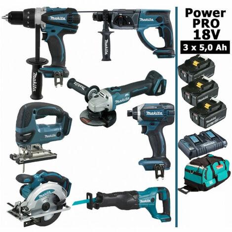 Pack Makita Power PRO 7 outils 18V: Perceuse DDF458 + Perfo DHR202 + Meuleuse DGA504 + Visseuse à choc DTD152 + Scie sauteuse DJV180 + Scie circulaire DSS610 + Scie récipro DJR186 + 3 batt 5Ah + sac MAKITA