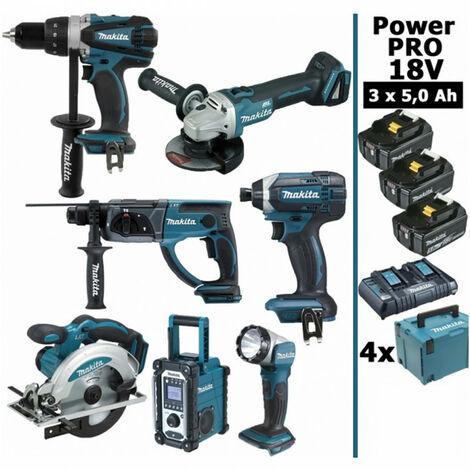 Pack Makita Power PRO 7 outils 18V: Perceuse DDF458 + Perfo DHR202 + Visseuse à choc DTD152 + Meuleuse DGA504 + Scie circulaire DSS610 + Radio DMR107 + Lampe DEADML802 + 3 batt 5Ah + 4 Coffrets Makpac MAKITA [duplique]
