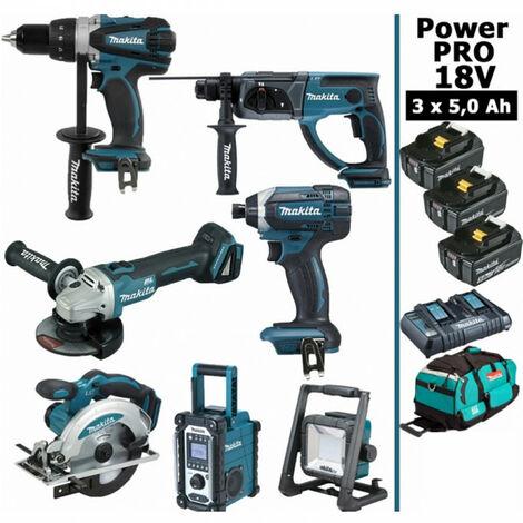 Pack Makita Power PRO 7 outils 18V: Perceuse DDF458 + Perfo DHR202 + Visseuse à choc DTD152 + Meuleuse DGA504 + Scie circulaire DSS610 + Radio DMR108 + Lampe DEADML805 + 3 batt 5Ah + sac MAKITA