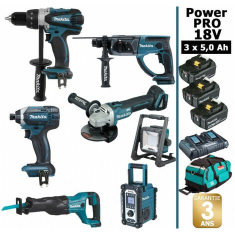 Pack Makita Power PRO 7 outils 18V: Perceuse DDF458 + Perfo DHR202 + Visseuse à choc DTD152 + Meuleuse DGA504 + Scie récipro DJR186 + Radio DMR108 + Lampe DEADML805 + 3 batt 5Ah + 1 Sac trolley MAKITA