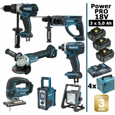 Pack Makita Power PRO 7 outils 18V: Perceuse DDF458 + Perfo DHR202 + Visseuse à choc DTD152 + Meuleuse DGA504 + Scie sauteuse DJV180 + Radio DMR108 + Lampe DEADML805 + 3 batt 5Ah + 4 Coffrets Makapc MAKITA
