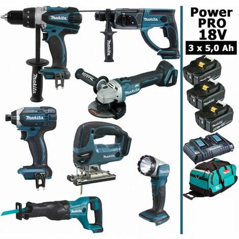 Pack Makita Power PRO 7 outils 18V: Perceuse DDF458 + Perforateur DHR202 + Visseuse à choc DTD152 + Meuleuse DGA504 + Scie sauteuse DJV180 + Scie récipro DJR186 + Lampe DEADML802 + 3 batt 5Ah + sac MAKITA