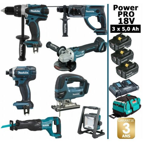 Pack Makita Power PRO 7 outils 18V: Perceuse DDF458 + Perforateur DHR202 + Visseuse à choc DTD152 + Meuleuse DGA504 + Scie sauteuse DJV180 + Scie récipro DJR186 + Projecteur DEADML805 + 3 batt 5Ah + sac MAKITA