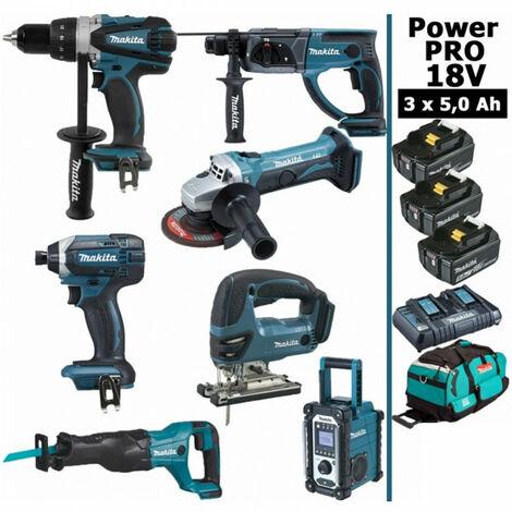Pack Makita Power PRO 7 outils 18V: Perceuse DDF458 + Perforateur DHR202 + Visseuse à choc DTD152 + Meuleuse DGA504 + Scie sauteuse DJV180 + Scie récipro DJR186 + Radio DMR108 + 3 batt 5Ah + sac MAKITA