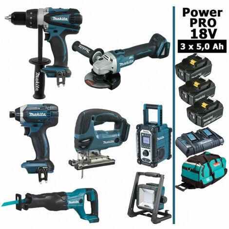 Pack Makita Power PRO 7 outils 18V: Perceuse DDF458 + Visseuse à choc DTD152 + Meuleuse DGA504 + Scie sauteuse DJV180 + Scie récipro DJR186 + Radio DMR108 + Lampe DEADML805 + 3 batt 5Ah + sac MAKITA