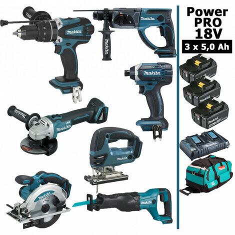Pack Makita Power PRO 7 outils 18V: Perceuse DHP458 + Perfo DHR202 + Meuleuse DGA504 + Visseuse à choc DTD152 + Scie sauteuse DJV180 + Scie circulaire DSS610 + Scie récipro DJR186 + 3 batt 5Ah + sac MAKITA