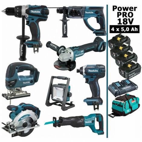 Pack Makita Power PRO 8 outils 18V: Perceuse DDF458 + Perfo DHR202 + Meuleuse DGA504 + Visseuse à choc DTD152 + Scie sauteuse DJV180 + Scie circulaire DSS610 + Scie récipro DJR186 + Lampe DEADML805 + 4 batt 5Ah + sac MAKITA
