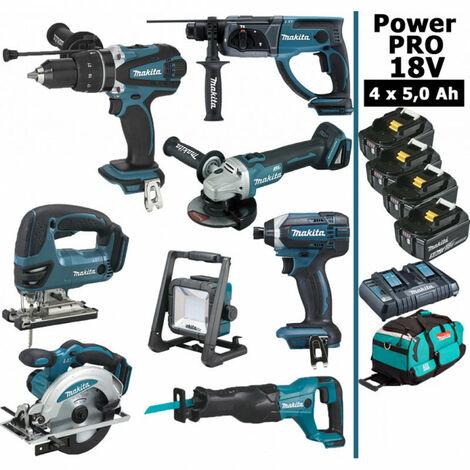 Pack Makita Power PRO 8 outils 18V: Perceuse DHP458 + Perfo DHR202 + Meuleuse DGA504 + Visseuse à choc DTD152 + Scie sauteuse DJV180 + Scie circulaire DSS610 + Scie récipro DJR186 + Lampe DEADML805 + 4 batt 5Ah + sac MAKITA