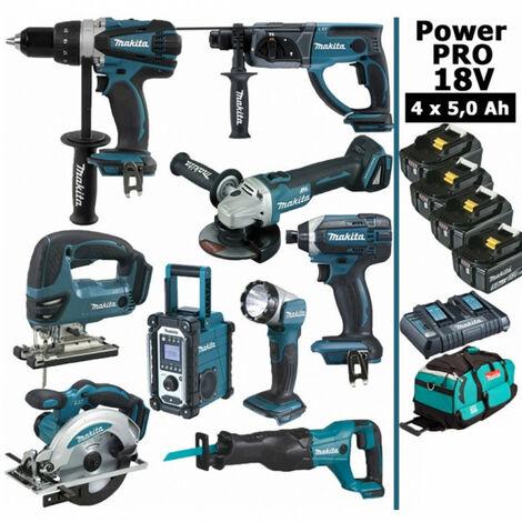 Pack Makita Power PRO 9 outils 18V: Perceuse DDF458 + Perfo DHR202 + Meuleuse DGA504 + Visseuse à choc DTD152 + Scie sauteuse DJV180 + Scie circulaire DSS610 + Scie récipro DJR186 + Radio DMR108 + Lampe DEADML802 + 4 batt 5Ah + sac MAKITA