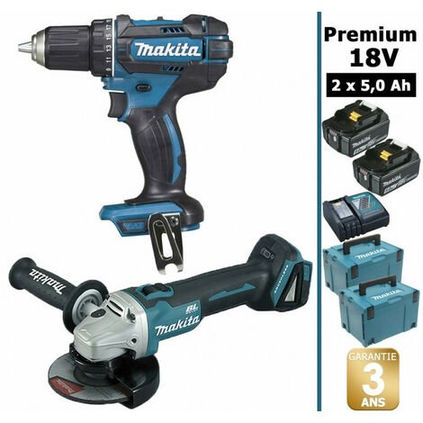 Pack Makita premium 18V 5Ah: Perceuse 62Nm DDF482 + Meuleuse 125mm DGA504 + 2 batteries + 2 MakPac MAK28730RTJ MAKITA