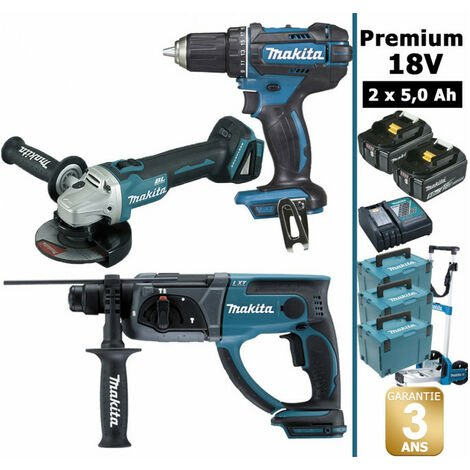 Pack Makita Premium 18V 5Ah: Perceuse 62Nm DDF482 + Meuleuse 125mm DGA504 + Perforateur 2J DHR202 + 2 batteries + 3 MakPac + chariot MAK3220RTJD MAKITA