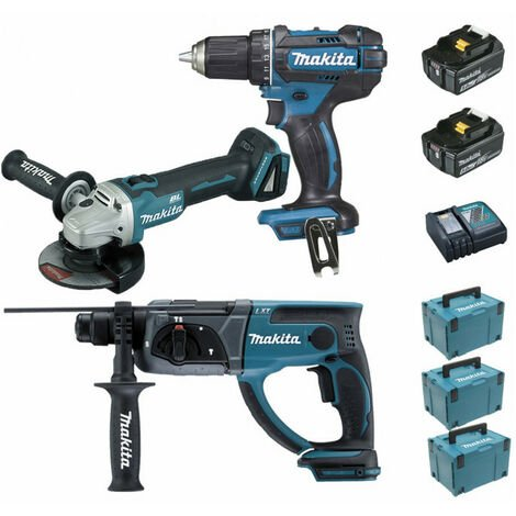Pack Makita Premium 18V 5Ah: Perceuse 62Nm DDF482 + Meuleuse 125mm DGA504 + Perforateur 2J DHR202 + 2 batteries + 3 MakPac MAK3220RTJ MAKITA