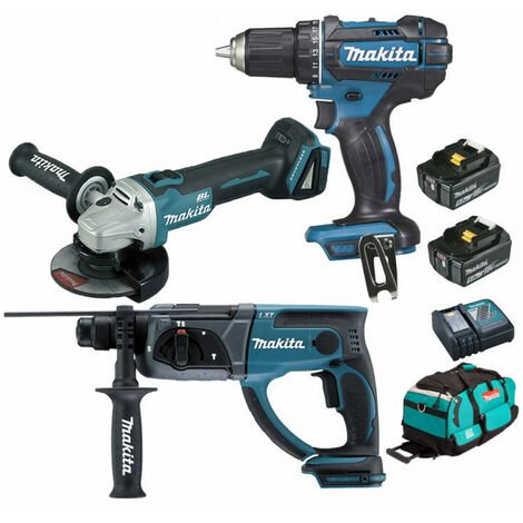 Pack Makita Premium 18V 5Ah: Perceuse 62Nm DDF482 + Meuleuse 125mm DGA504 + Perforateur 2J DHR202 + 2 batteries + sac MAK3220RTX MAKITA