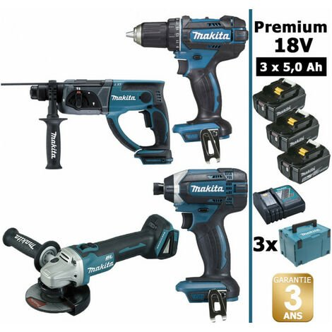 Pack Makita Premium 18V 5Ah: Perceuse 62Nm DDF482 + Meuleuse 125mm DGA504 + Perforateur 2J DHR202 + Visseuse à chocs 165Nm DTD152 + 3 batteries + 3 MakPac MAK4310PT3J MAKITA