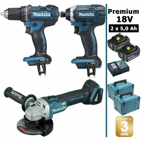 Pack Makita Premium 18V 5Ah: Perceuse 62Nm DDF482 + Meuleuse 125mm DGA504 + Visseuse à chocs 165Nm DTD152 + 2 batteries + 2 coffrets MAKPAC MAK3221RTJ MAKITA