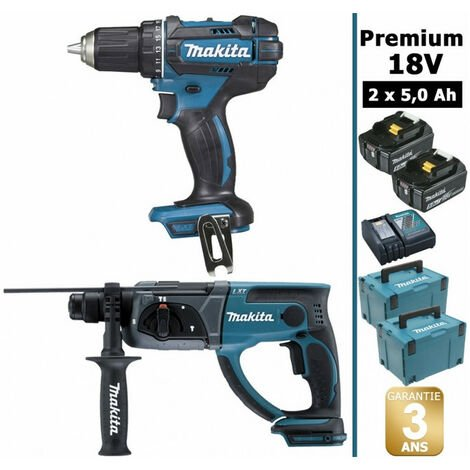 Pack Makita Premium 18V 5Ah: Perceuse 62Nm DDF482 + Perforateur 2J DHR202 + 2 batteries + 2 MakPac MAK2220RTJ MAKITA