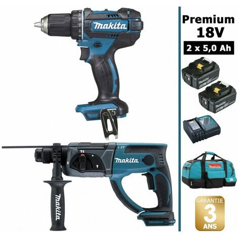 Pack Makita Premium 18V 5Ah: Perceuse 62Nm DDF482 + Perforateur 2J DHR202 + 2 batteries + sac MAK2220RTX MAKITA