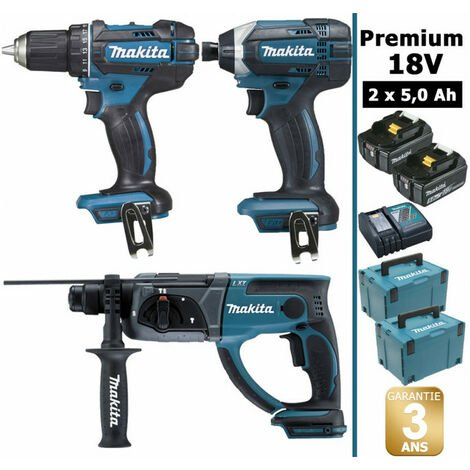 Pack Makita Premium 18V 5Ah: Perceuse 62Nm DDF482 + Perforateur 2J DHR202 + Visseuse à chocs 165Nm DTD152 + 2 batteries + 2 coffrets MAKPAC MAK3222RTJ MAKITA