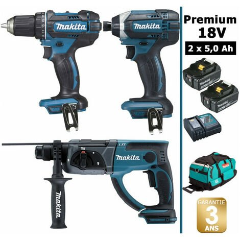 Pack Makita Premium 18V 5Ah: Perceuse 62Nm DDF482 + Perforateur 2J DHR202 + Visseuse à chocs 165Nm DTD152 + 2 batteries + sac MAK3222RTX MAKITA