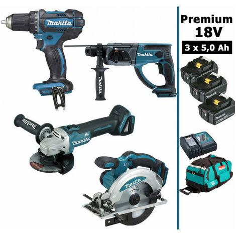 Pack Makita Premium 4 machines 18V 5Ah: Perceuse DDF482 + Meuleuse DGA504 + Perforateur DHR202 + Scie circulaire DSS610 + 3 batteries + sac MAKITA