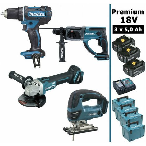 Pack Makita Premium 4 machines 18V 5Ah: Perceuse DDF482 + Meuleuse DGA504 + Perforateur DHR202 + Scie sauteuse DJV180 + 3 batteries + 4 coffrets MakPac MAKITA
