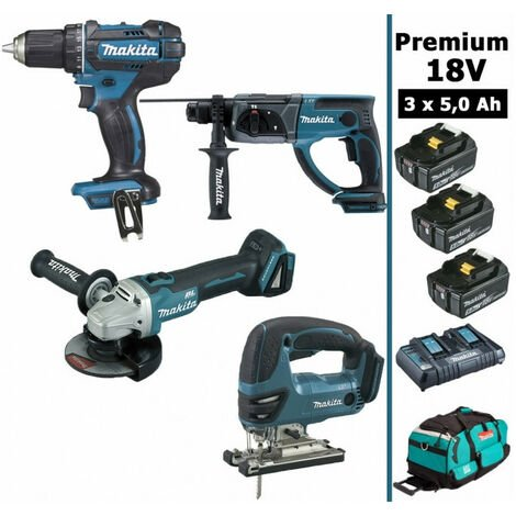 Pack Makita Premium 4 machines 18V 5Ah: Perceuse DDF482 + Meuleuse DGA504 + Perforateur DHR202 + Scie sauteuse DJV180 + 3 batteries + sac MAKITA