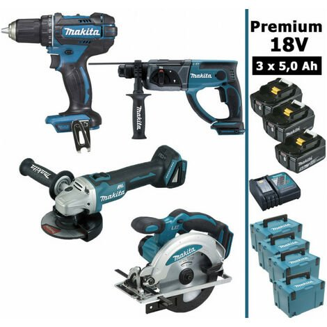 Pack Makita Premium 4 machines 18V 5Ah: Perceuse DDF482 + Meuleuse DGA504 + Perforateur DHR202 + Visseuse à chocs DTD152 + Scie circulaire DSS610 + 3 batteries + 4 MakPac MAKITA