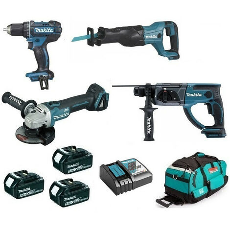 Pack Makita premium 4 machines 18V 5Ah: Perceuse DDF482 + Meuleuse DGA504 + Perforateur DHR202 + Visseuse à chocs DTD152 + Scie récipro DJR186 + 3 batteries + sac MAKITA