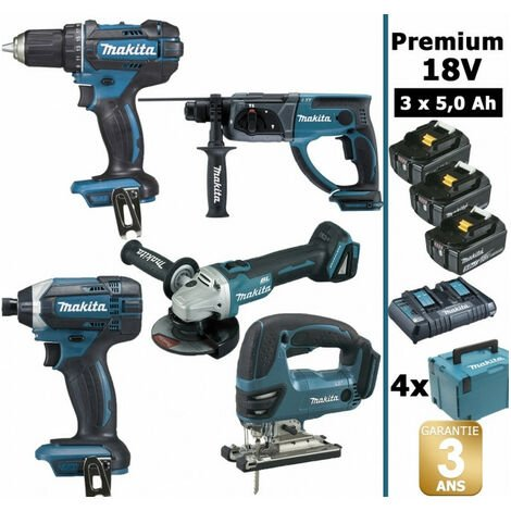Pack Makita premium 5 machines 18V 5Ah: Perceuse DDF482 + Meuleuse DGA504 + Perforateur DHR202 + Visseuse à chocs DTD152 + Scie sauteuse DJV180 + 3 batteries + 4 MakPac MAK5311PT3J MAKITA