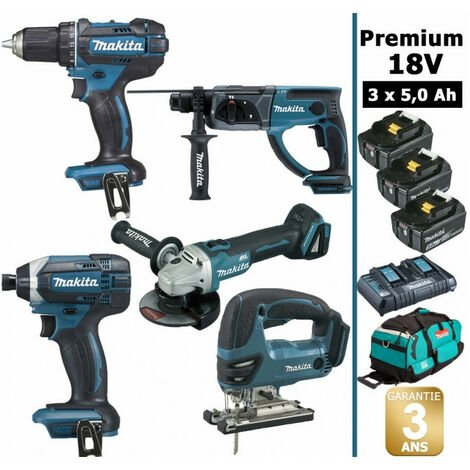 Pack Makita premium 5 machines 18V 5Ah: Perceuse DDF482 + Meuleuse DGA504 + Perforateur DHR202 + Visseuse à chocs DTD152 + Scie sauteuse DJV180 + 3 batteries + sac MAK5311PT3X MAKITA