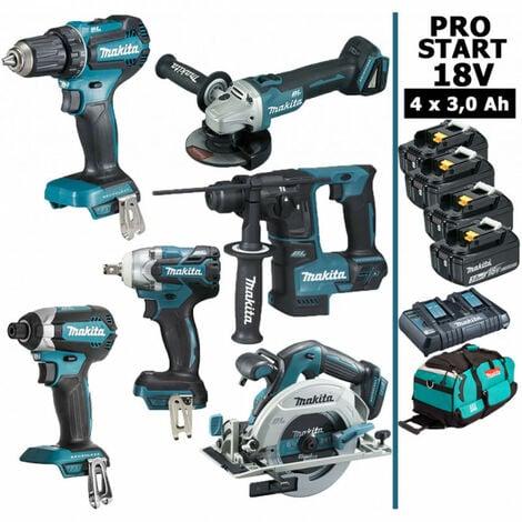 Pack Makita PRO START BL Motor 18V 6 machines 4 batt 3Ah DDF485 DTD153 DTW285 DGA504 DHR171 DHS680