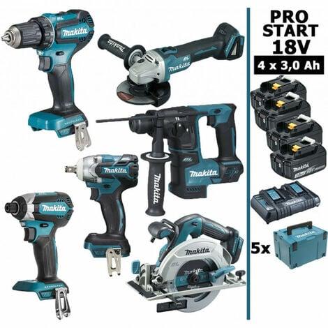 Pack Makita PRO START BL Motor 18V 6 machines 4 batt 3Ah DDF485 DTD153 DTW285 DGA504 DHR171 DHS680 Makpac