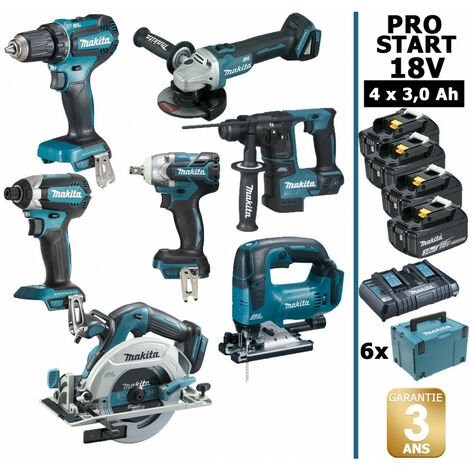 Pack Makita PRO START BL Motor 18V 7 machines 4 batt 3Ah DDF485 DTD153 DTW285 DGA504 DHR171 DHS680 DJV182 Makpac