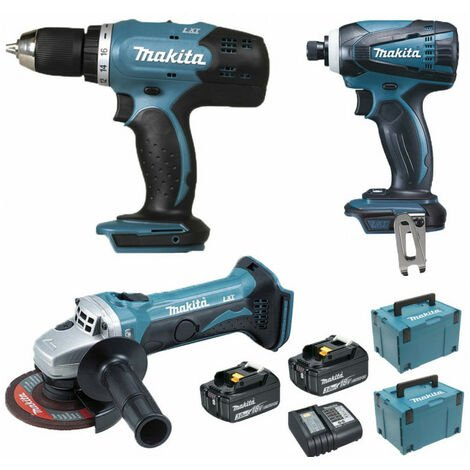 Pack Makita Starter 18V: Perceuse 42Nm DDF453 + Meuleuse 115mm DGA452 + Visseuse à choc 160Nm DTD146 + 2 batteries 3Ah + 2 Coffrets Makpac MAKITA