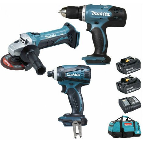 Pack Makita Starter 18V: Perceuse 42Nm DDF453 + Meuleuse 115mm DGA452 + Visseuse à choc 160Nm DTD146 + 2 batteries 3Ah + sac MAKITA
