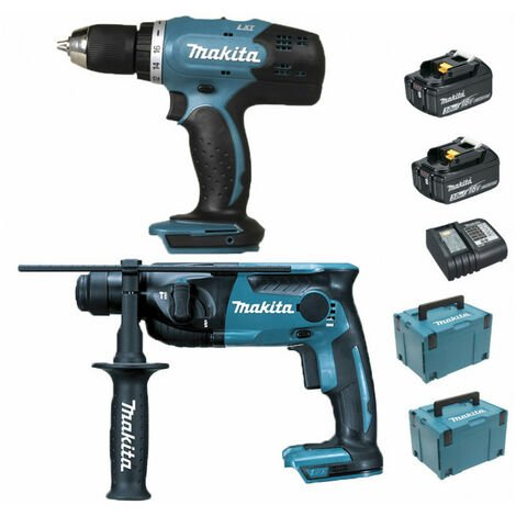 Pack Makita Starter 18V: Perceuse 42Nm DDF453 + Perforateur 1,3J DHR165 + 2 batteries 3Ah + 2 coffrets Makpac MAKITA